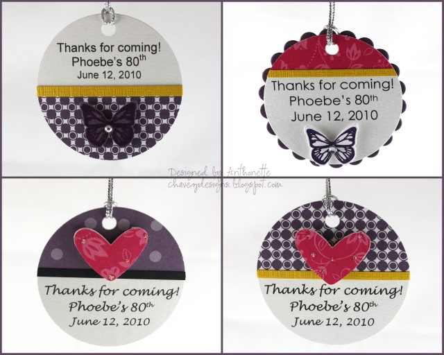 Here Are Some Tags I Designed Last Month For Angie One Of My Favorite Front Office People At School She Organized The 80th Birthday Party Her Mom