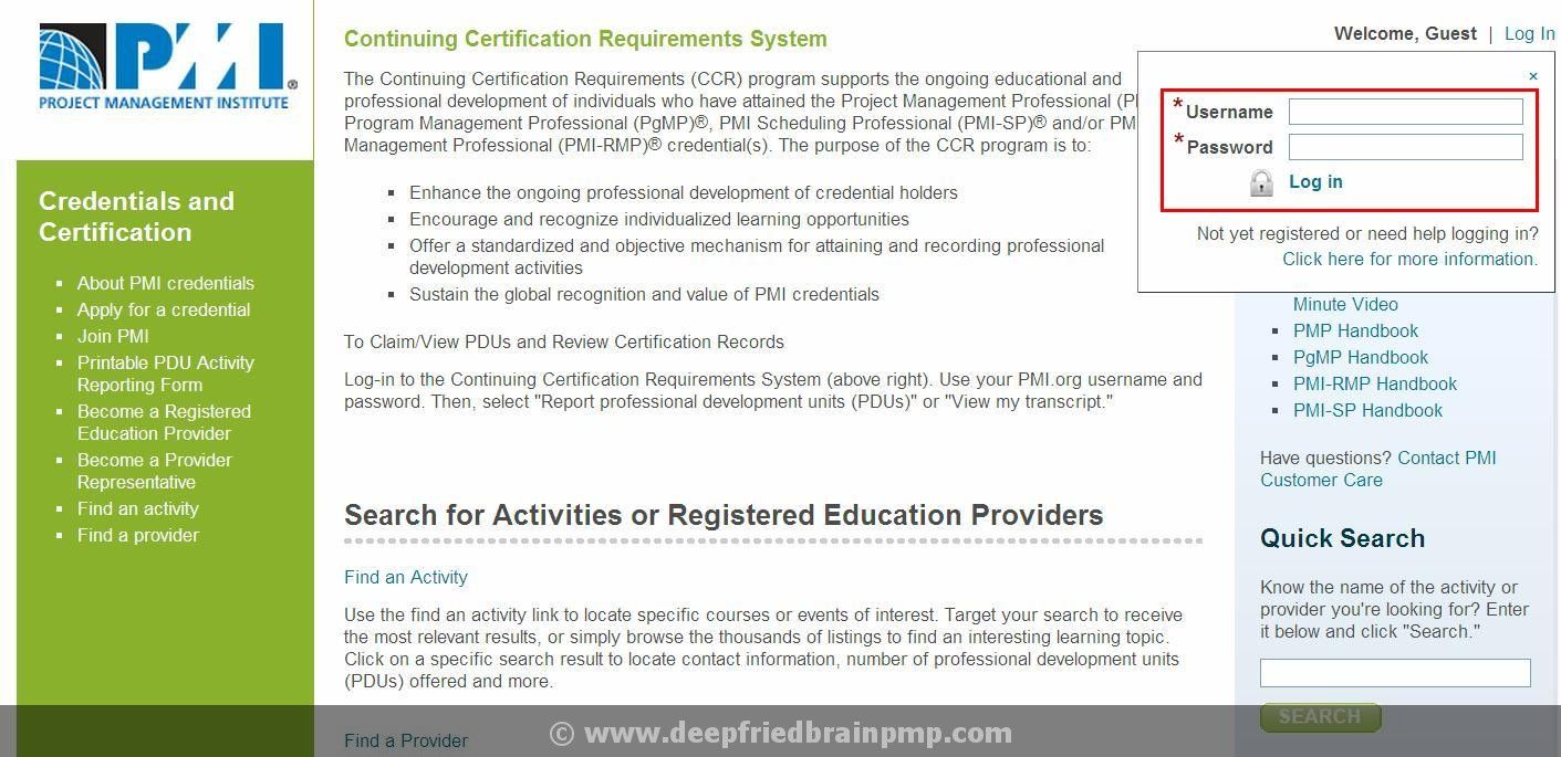 Pmp renewal how to report pdus to pmi pmp pmi acp capm exam prep step 2 login to pmi ccrs website xflitez Image collections