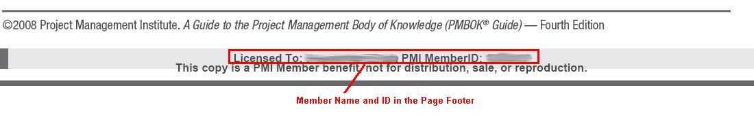 PMBOK Guide - Owner Name and PMI ID Stamping in PDF