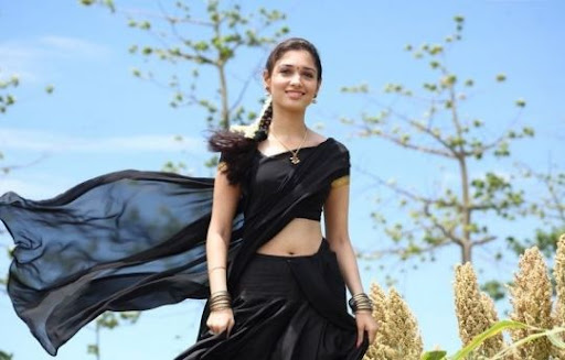 Tamanna In Tadakha Halfsaree: Tamanna In Black Half Saree Photos Actress