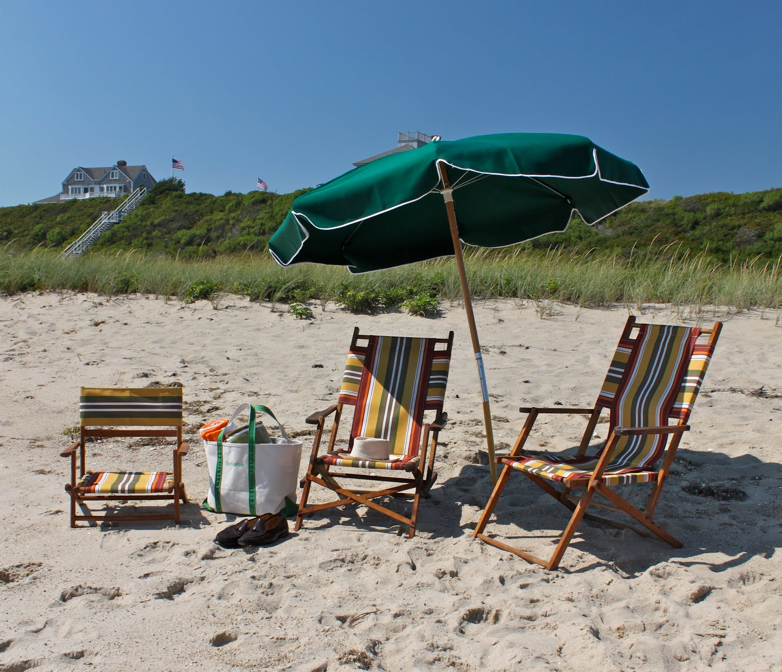 Our Chairs And Umbrella Set Up On The Beach