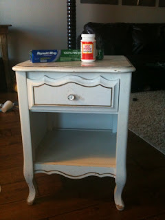 Crappy Hand Me Down Nightstand, Modpodge And Tin Foil.