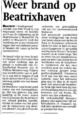 Krantenbericht 18 november 2003 - Avond van mijn ongeluk 16 nov. 2003 - Brand in Beatrixhaven