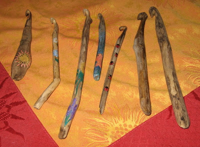 My Knitting Basket: drift wood crochet hooks :  handmade crochet wood carved