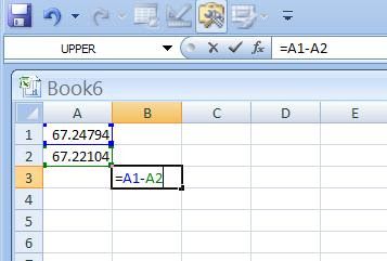 how to show difference between numbers in excel
