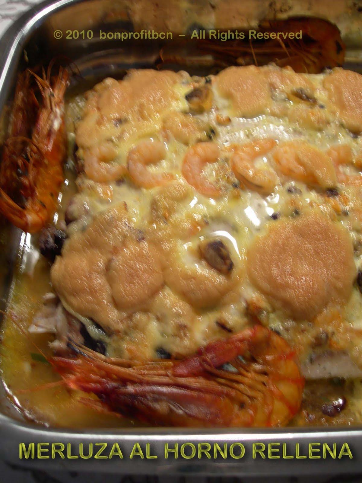 Bon profit merluza al horno rellena con salsa muselina for Merluza rellena al horno