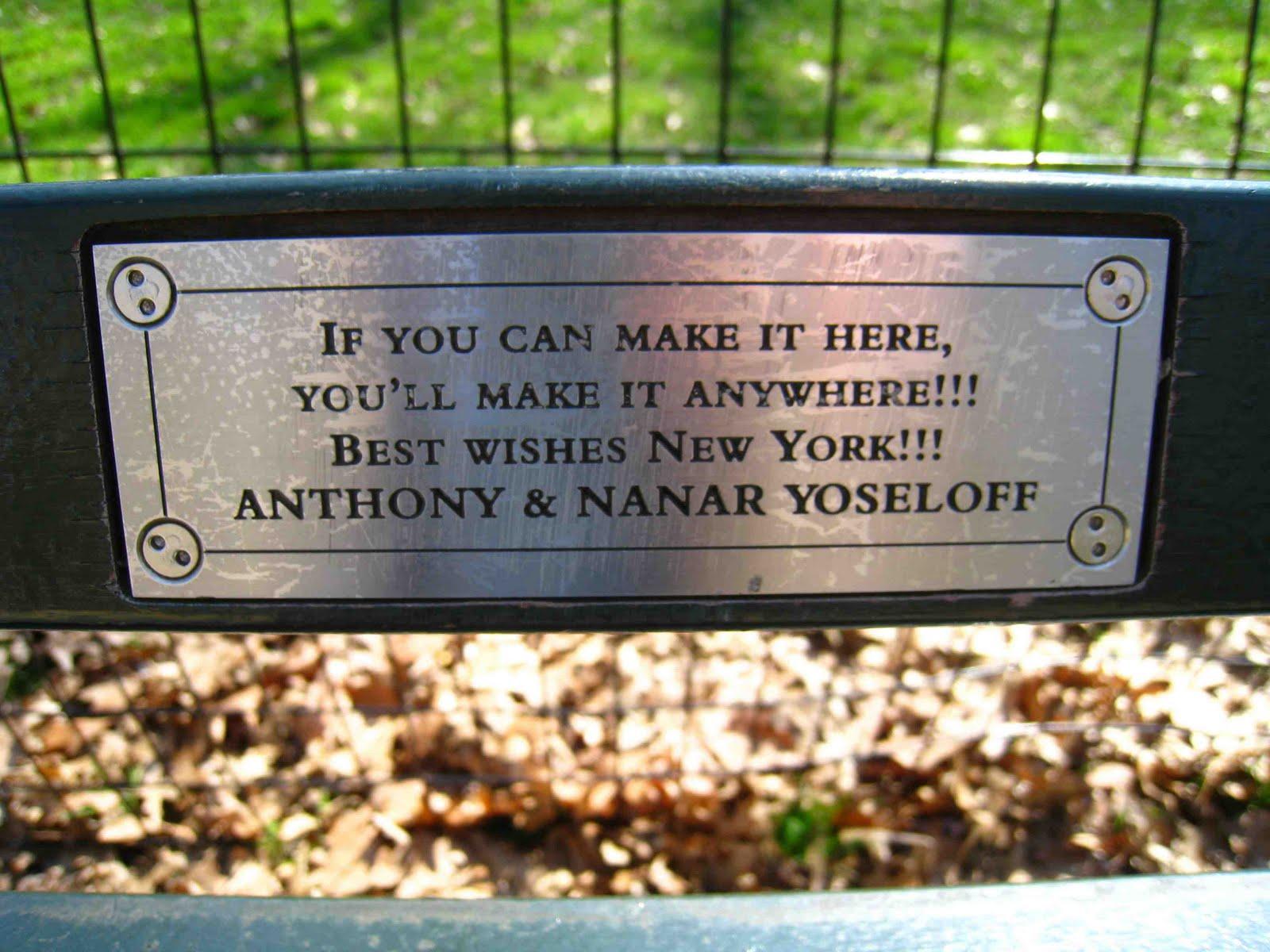 Kahn Central Park Bench Madeline
