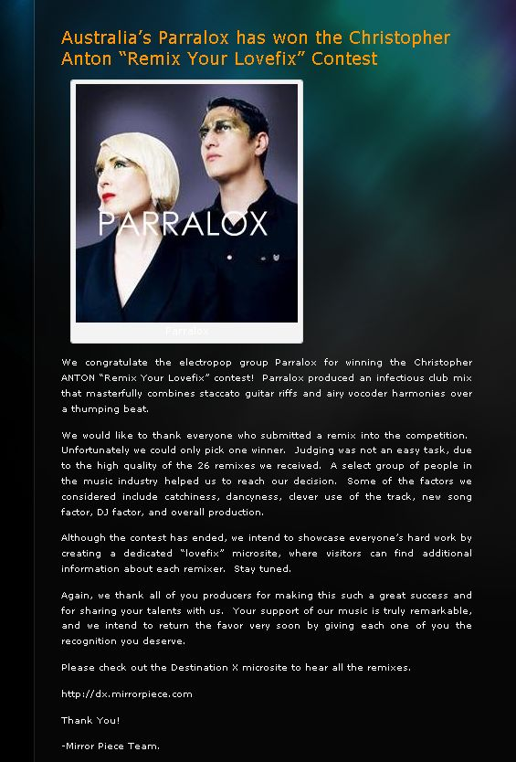 Parralox are winners of the Lovefix Remix competition!