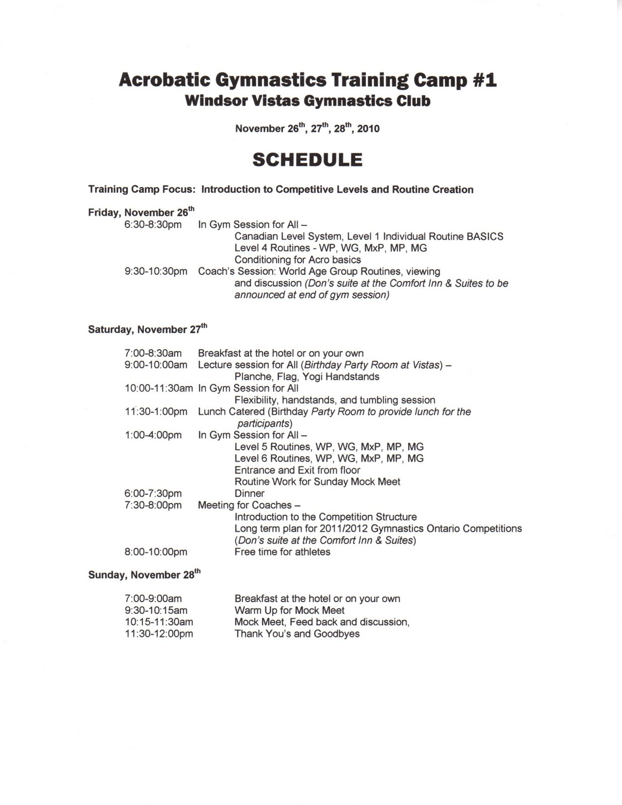 Oakville Gymnastics Club Acrobatic Team Training Camp Schedule Cosmetology Instructor Resume Samples