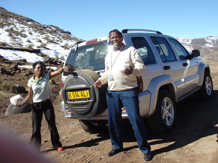 Snowy Lesotho mountains with Renga