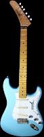 pale blue Japanese guitar