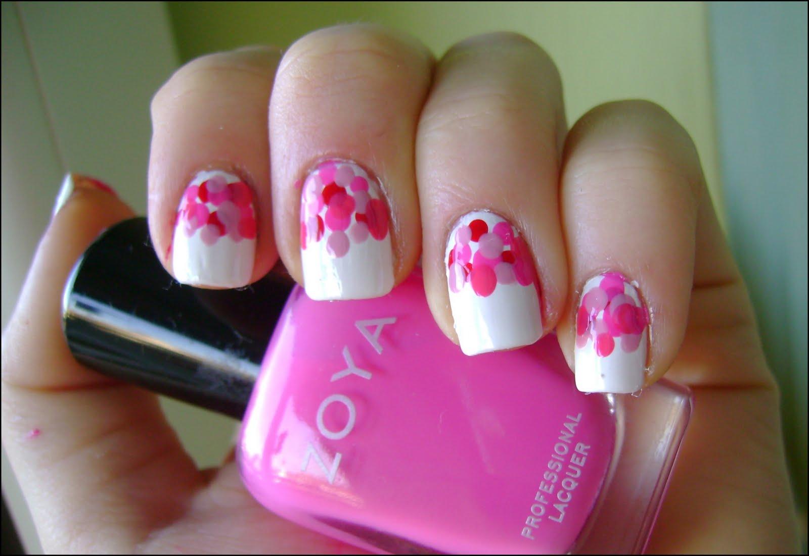 Acrylic Nail Art Designs Pink Dots Valentine S Day Manicure Idea