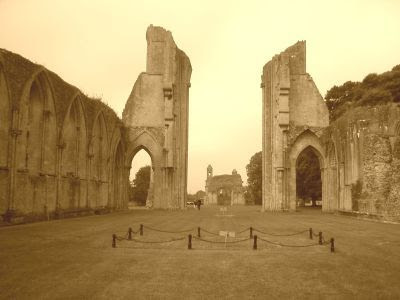 Glastonbury Abbey was ruined by fire in 1184, rebuilt, and reduced to a shell in the Dissolution of the 1530s.
