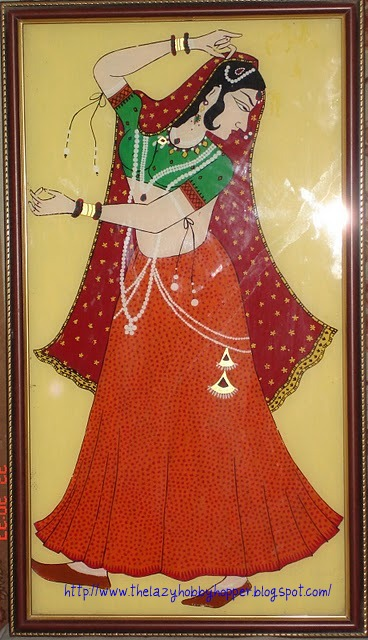 Glass painting of a rajasthani dancing girl here is the pencil sketch