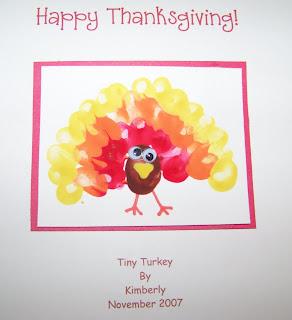 Tiny Turkey Fingerprint Card