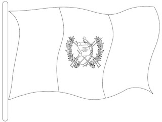 colorear dibujo de Bandera Nacional Guatemala