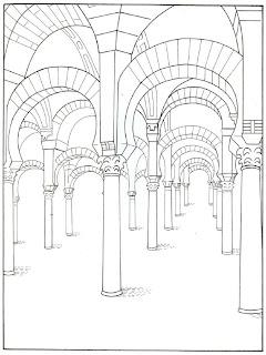 Dibujo de la mezquita de Córdoba para colorear