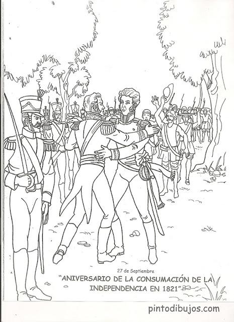 colorear 27 de Septiembre, aniversario de la consumación de la Independencia 1821