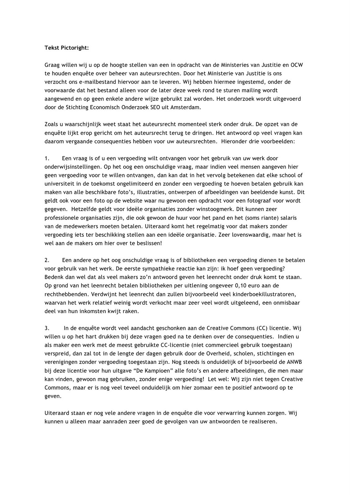 ik hoor graag van u afsluiting brief Eerste Hulp bij Plaatopnamen: oktober 2010