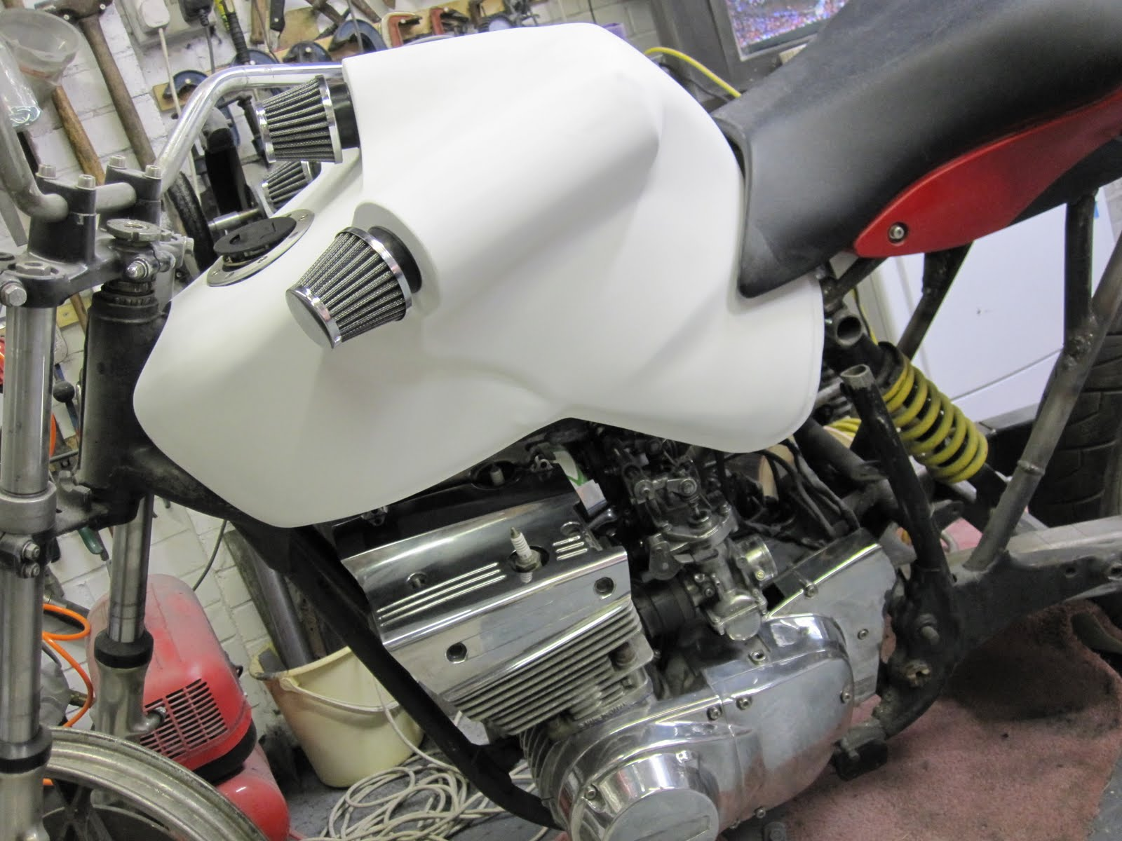 Crazy tank with air intakes to be ducted into carbs