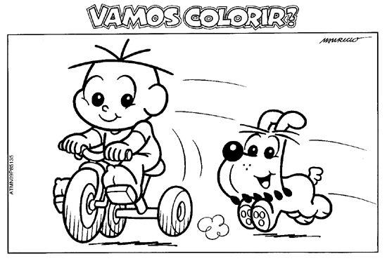 Desenho Cebolinha E Bidu Andando De Bicicleta Turma Da Monica