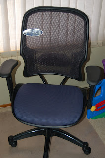 Our new office chair so he can sit at the computer in comfort. It's the Minnie Pearl model.