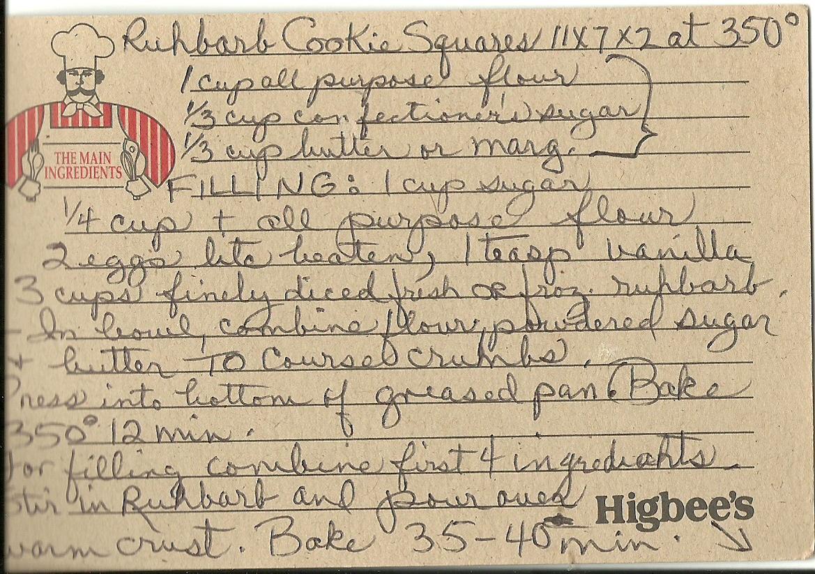 Vintage Cookbooks Amp Crafts Handwritten Recipe Rhubarb