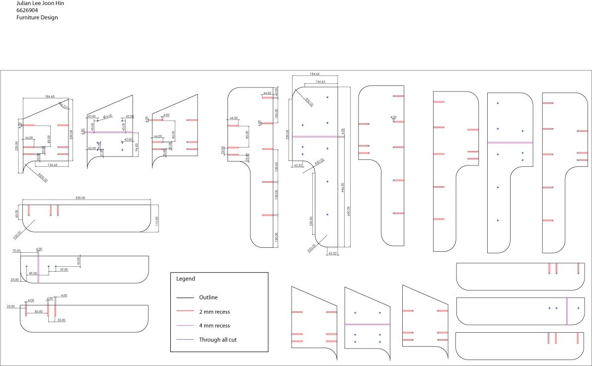 HD3D002 Furniture Design: Chair Parts For Lazer Cutting