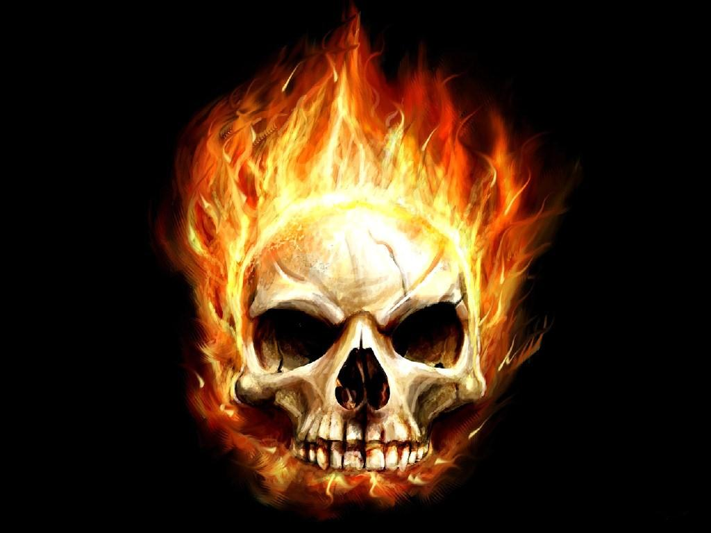 Scary Burned Skull Wallpaper Background