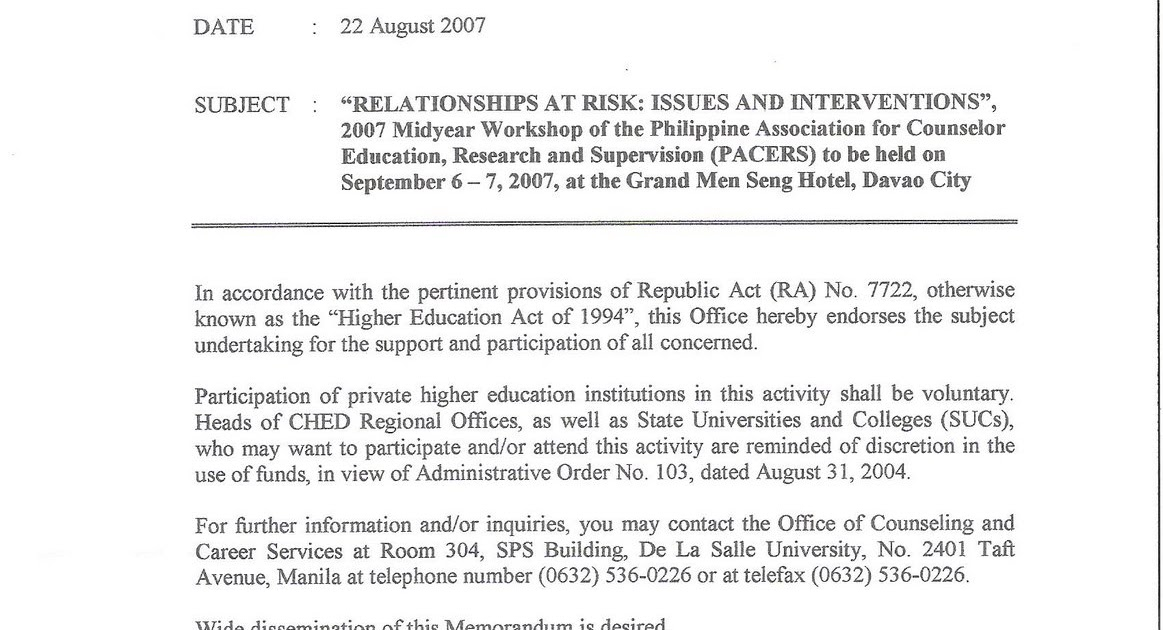 Counseling Psychology in the Philippines: CHED MEMORANDUM released