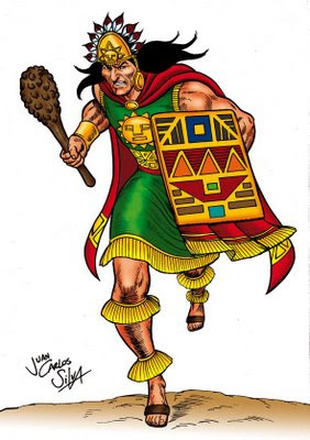 """Ilustraciones de Edson Torres de Kuntur Art. Representan a los poderosos """"orejones"""" de las panacas (ayllus reales del Imperio Inca)"""