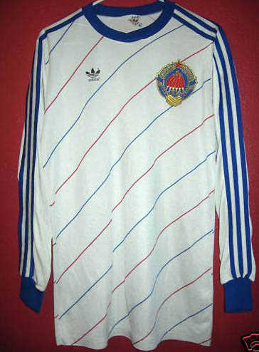 These pictures show the jersey worn by the Yugoslav national soccer team  during the 1984 to 1985 period. It s long sleeved and is made by Adidas in  ... f5b9e082c
