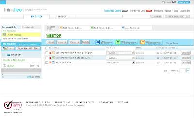 Thinkfree Online Screenshot.