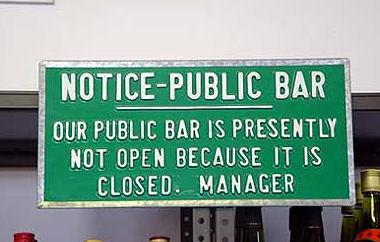 Funny Public Bar Notice