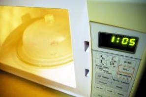 Cooking in a microwave oven.