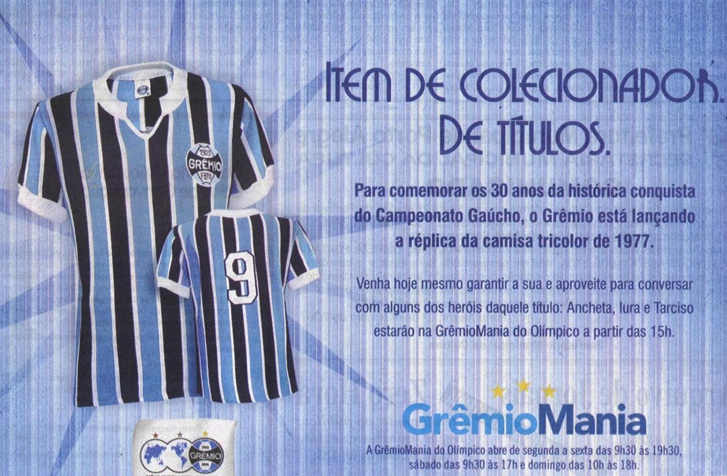 Em comemoração à conquista dos 30 anos do Campeonato Gaúcho de 1977 6d5b78663d698