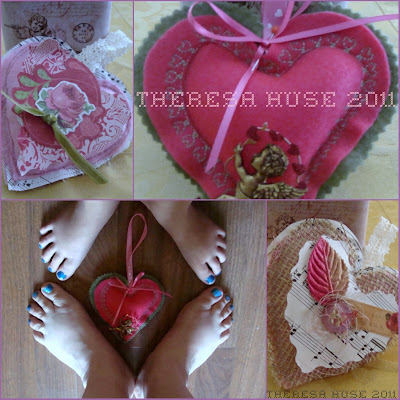 Valentine's Day hearts made from felt, papers, with ribbons and string. DearCreatives.com