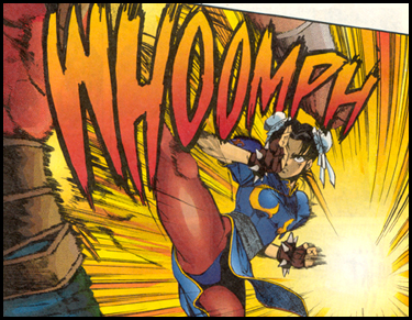 CHUN-LI displays the fast and furious flurry of the lightning kick! Seen in TOKUMA's STREET FIGHTER II #1!
