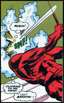 A bag of rosin is all BULLSEYE needs to put DAREDEVIL in DAREDEVIL #132!