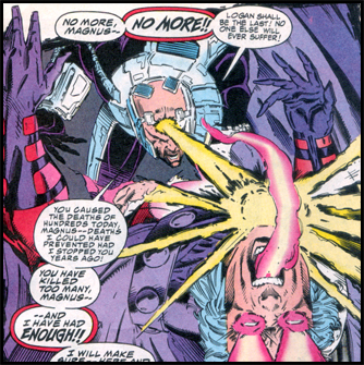Enraged by MAGNETO's actions, XAVIER takes his greatest weapon - his mind: Seen in the now classic X-MEN #25!