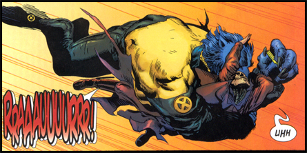 BEAST attacks an ill-prepared Xorn: First seen in NEW X-MEN #150!