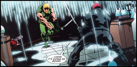 GREEN ARROW faces a similar challenge from RED HOOD, in the pages of GREEN ARROW #71!