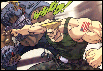 GUILE flexes those trademark muscles, laying the pain on BIRDIE in STREET FIGHTER #1!