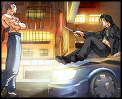 FEI LONG intimidates the gangster, DAI LOE! Seen in STREET FIGHTER #8!