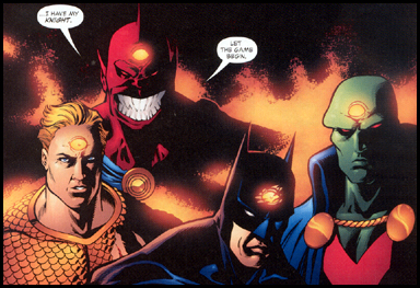 A study in contrast, ranging from lethal (AQUAMAN), brutal (BATMAN), and by the book (MARTIAN MANHUNTER).