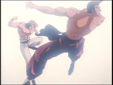 While Street Fighter II V does not sport high end animation, it is not devoid of moments of anime brilliance, such as this dramatic white-background shot!