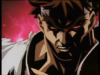 RYU succumbs to the dark hadou when he steps in the ring with ZANGIEF: Seen in STREET FIGHTER ALPHA, the animated movie!