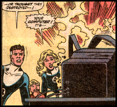 REED RICHARDS deduces the true meaning behind his new computer, TURINO LX in FANTASTIC FOUR #331.
