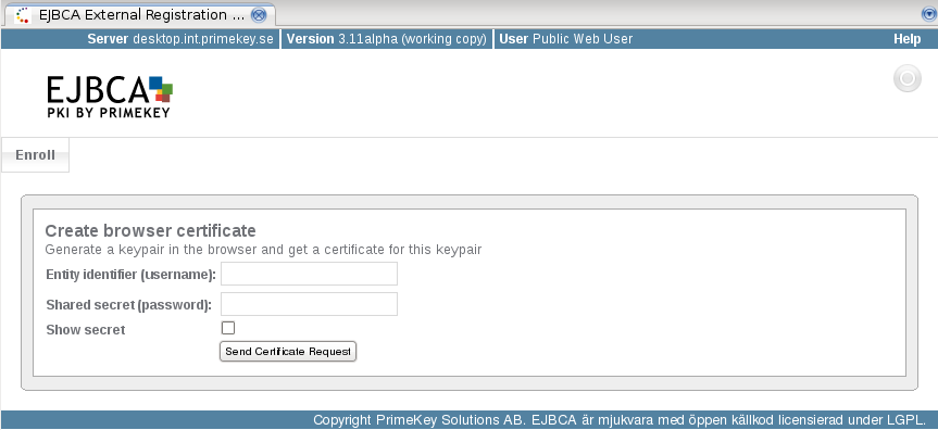 EJBCA - Open Source Enterprise PKI: External RA enrollment Web GUI