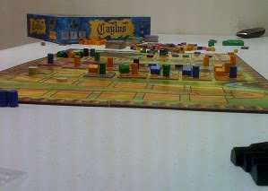 Caylus board game in play